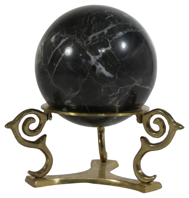 Black Marble Orb w/ Stand, 2 Pcs