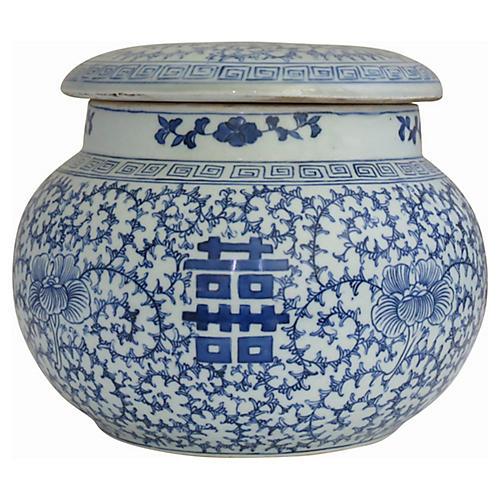 Large Blue & White Covered Jar