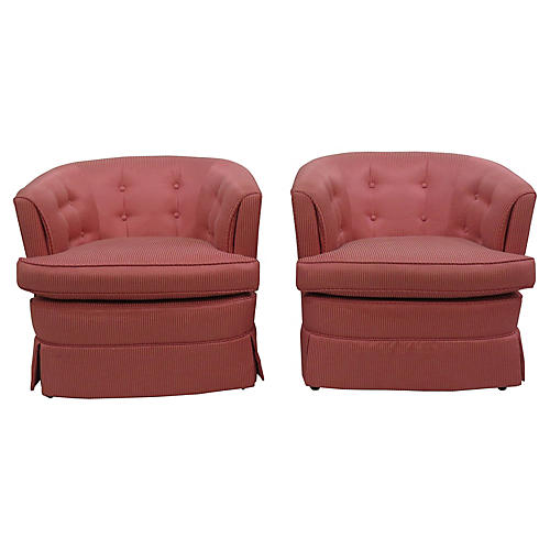 Coral Tufted Lounge Chairs, Pair