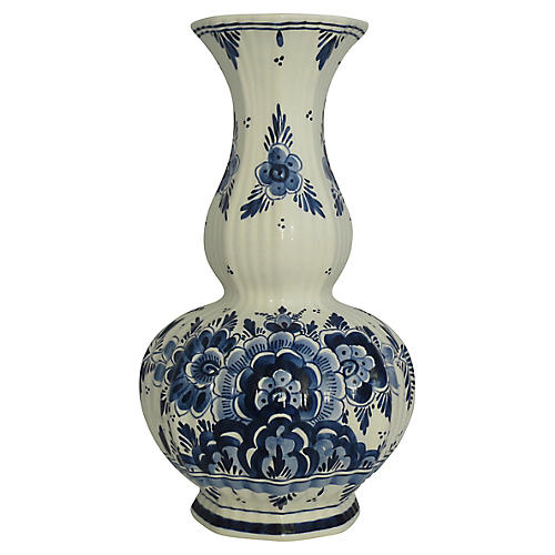 Hand-Painted Delft Ribbed Vase