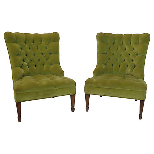 Button-Tufted Slipper Chairs, Pair