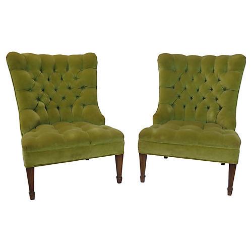 Button-Tufted Slipper Chairs, Pair