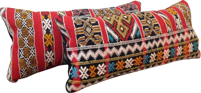 Moroccan Lumbar Pillows, Pair