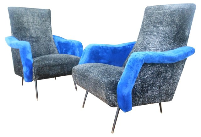 Italian Lounge  Chairs, Pair