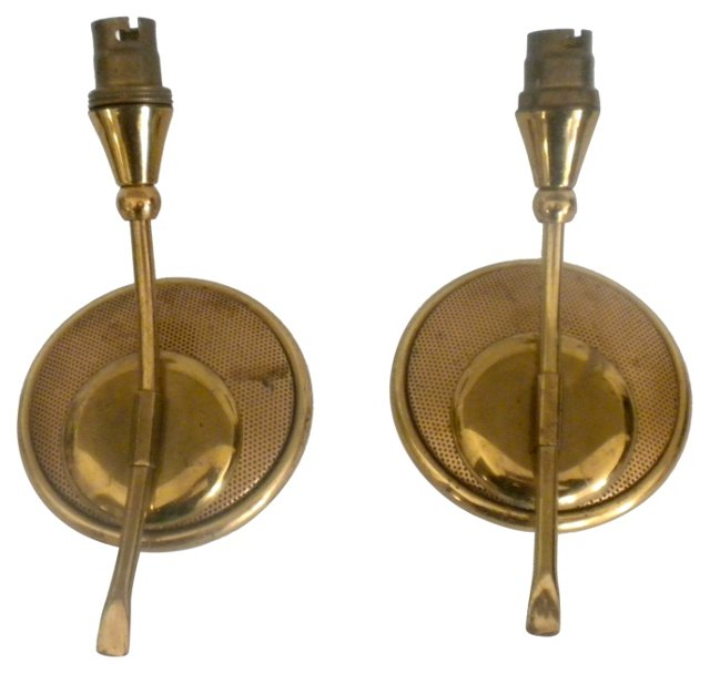 French Perforated Brass Sconces, Pair