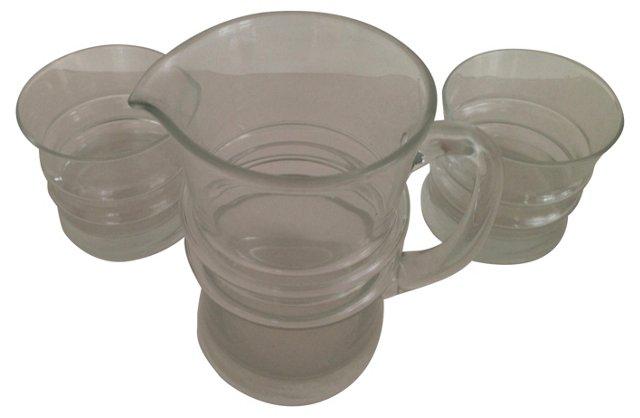 Water Carafe & Glasses, S/3
