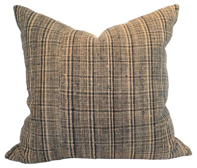Blue & Beige Hemp  Pillow