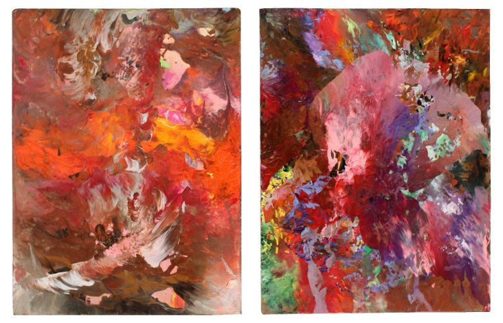 Artist's Pallet Abstract Diptych