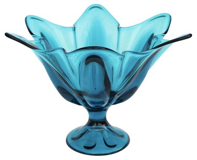 Blue Scalloped Glass Compote