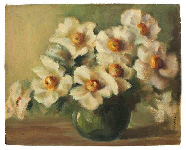 White Poppies in Green Vase
