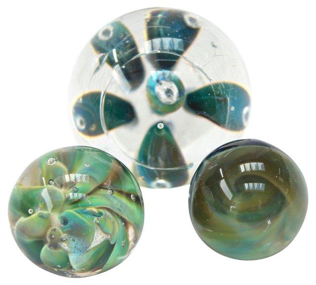 Blue-Green Handblown Marbles, S/3