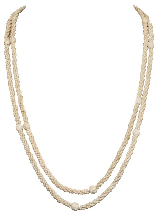 Antique Carved Bone Beaded Necklaces