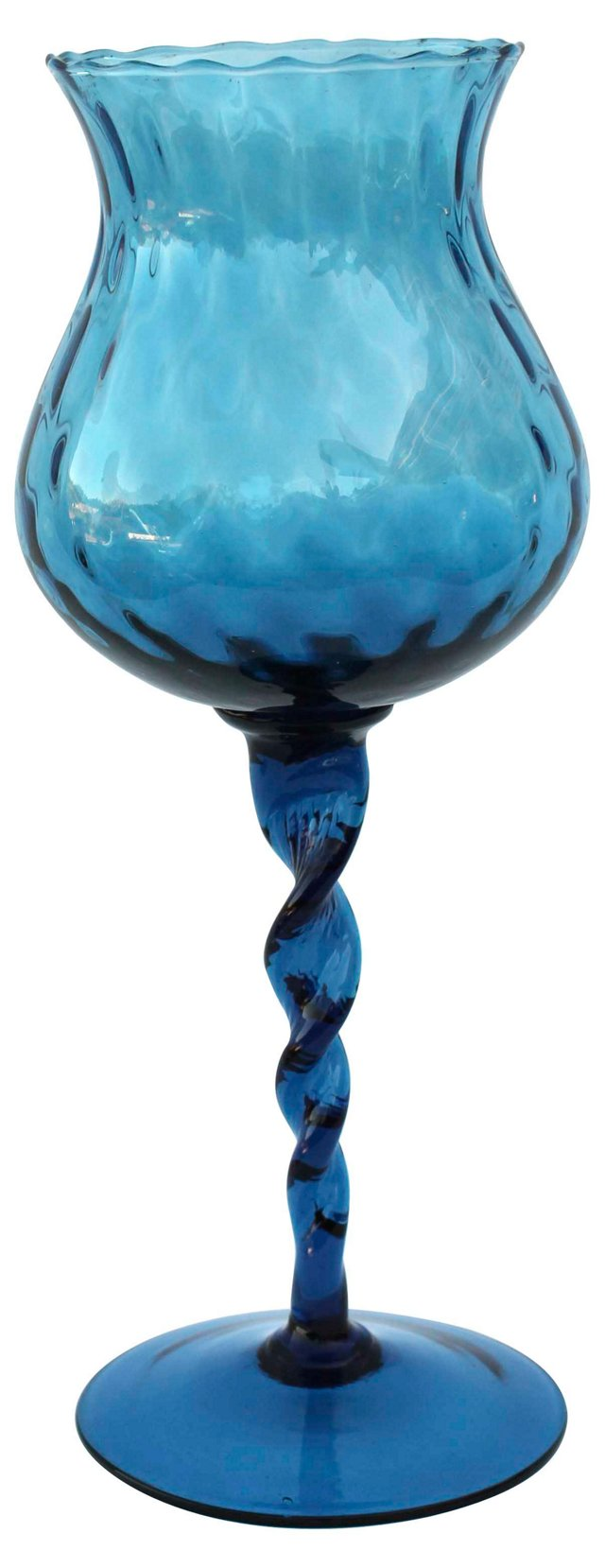 Italian Blue Optic Glass Vase
