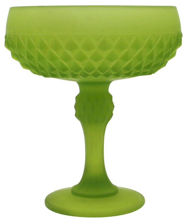 Satin Glass Diamond-Point Compote