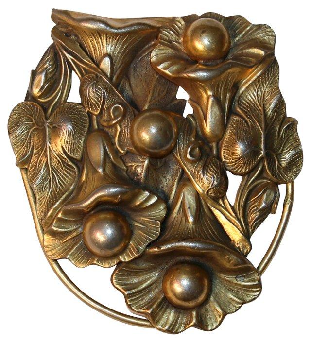 Antique Art Nouveau Dress Clip w/ Chain