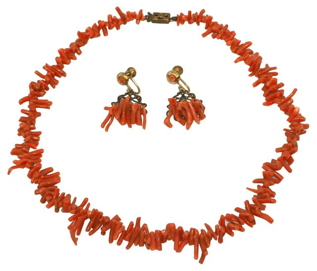 Mediterranean Coral Earrings & Necklace