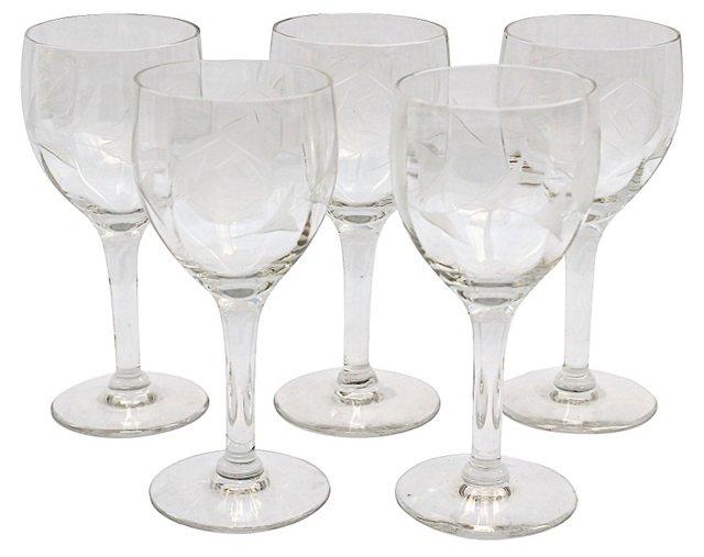 Etched Liqueur Glasses, Set of 5