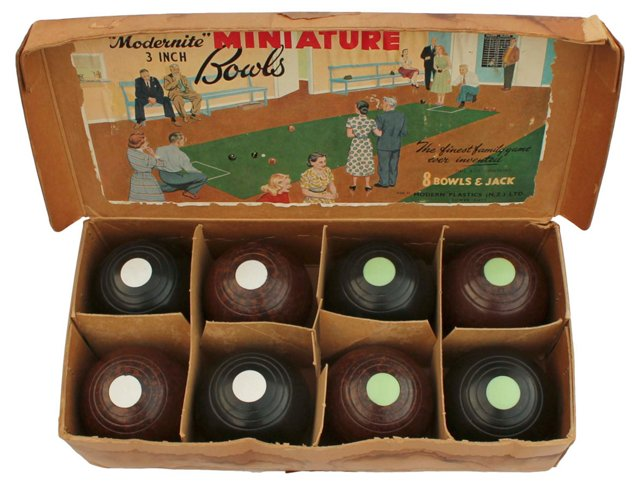 1950s Indoor Lawn Bowling Balls, S/8