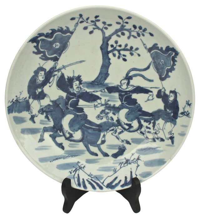 Chinese Warrior Hand-Painted Bowl