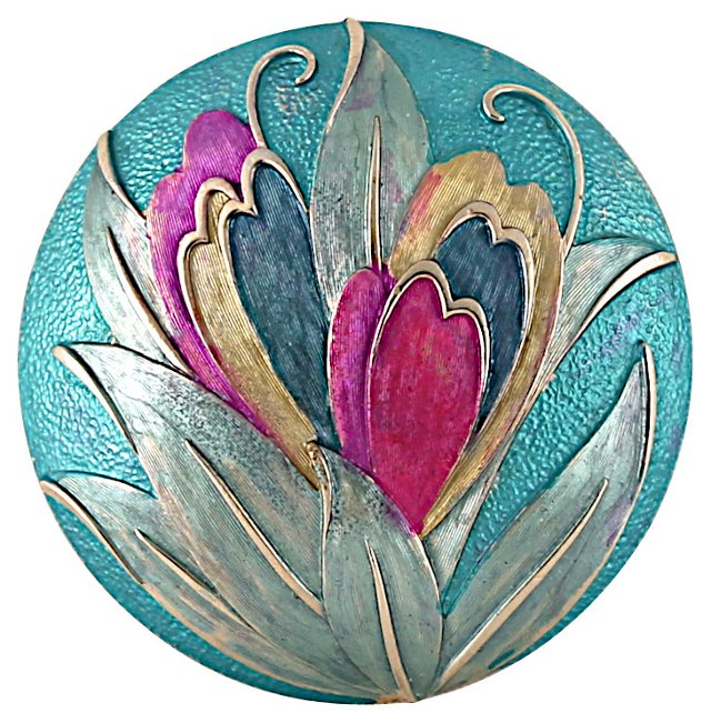Hand Painted Brushed-Gold Floral Brooch