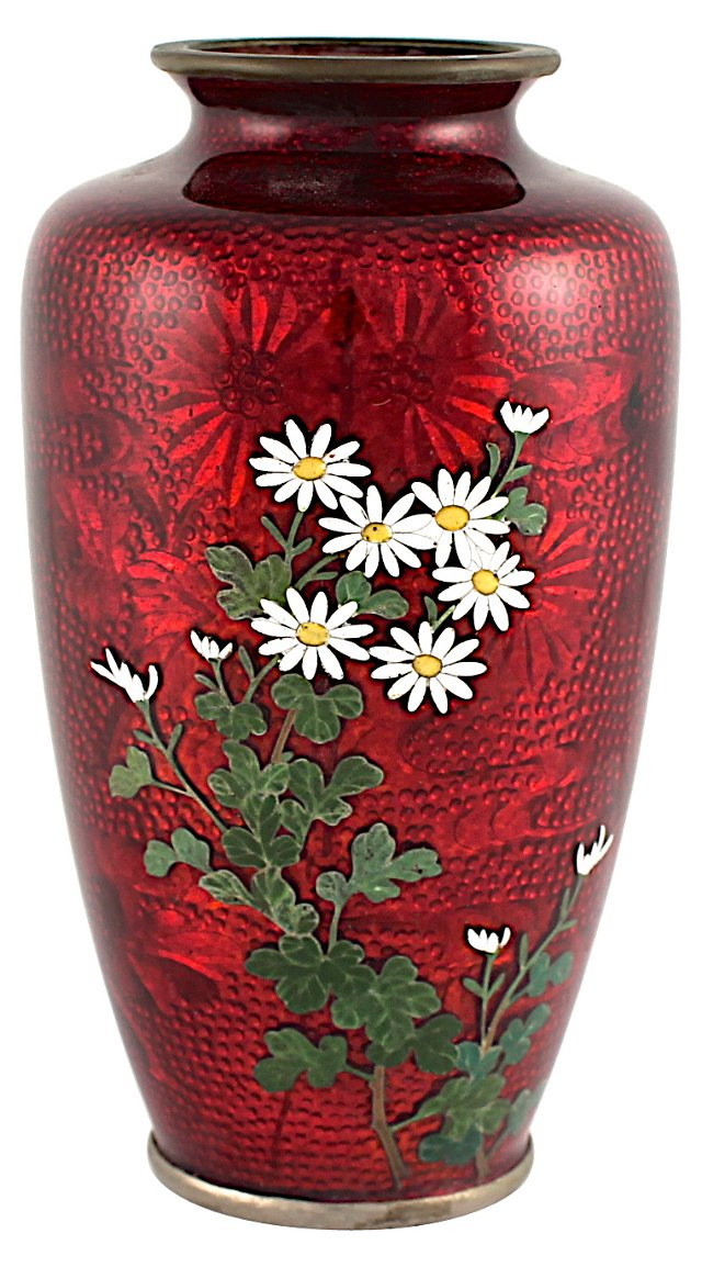 Antique Japanese Ginbari Cloisonné Vase