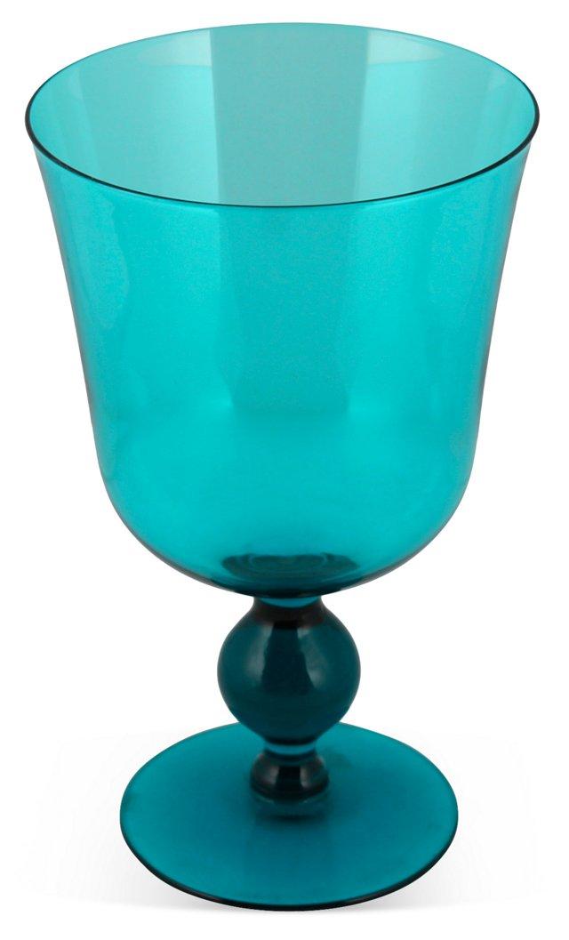 Midcentury Teal-Blue Footed Vase