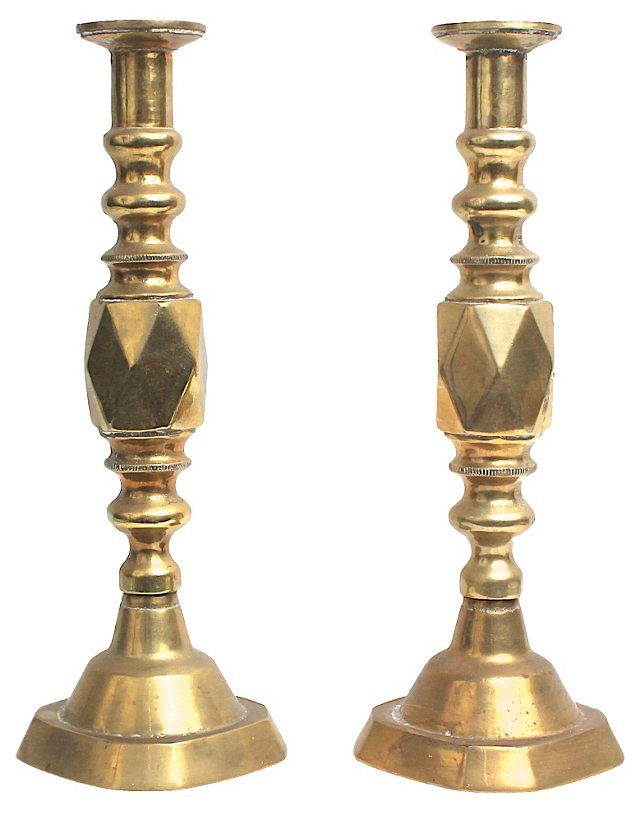 Faceted Brass Candlesticks, Pair