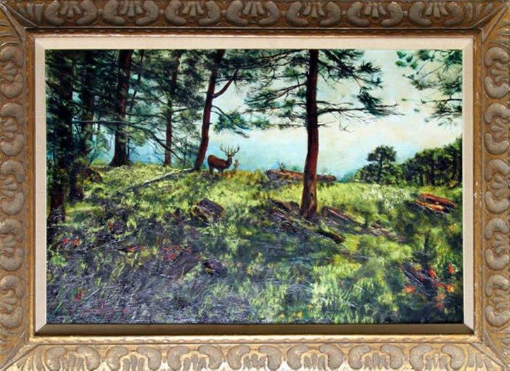 Forest Landscape w/ Deer