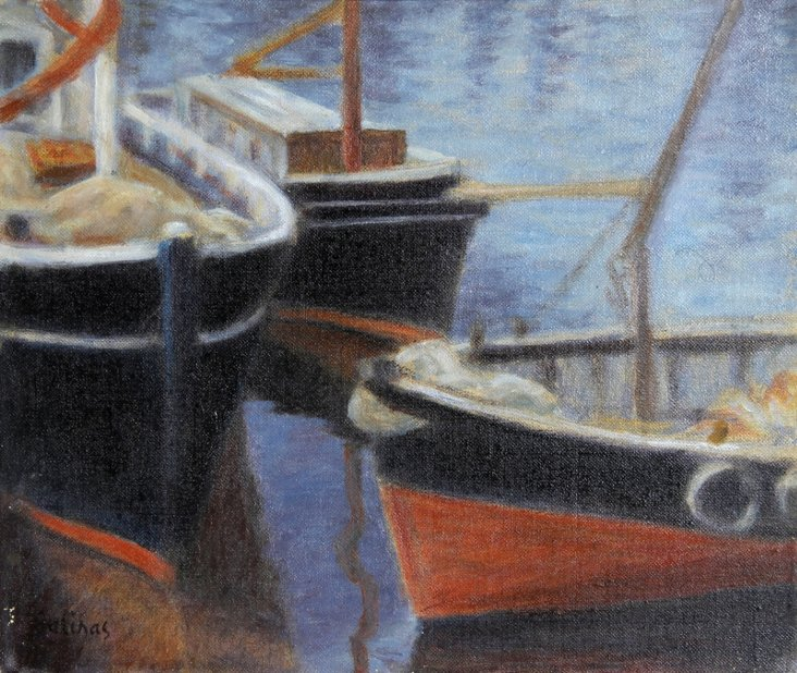 Boats in Harbor by L.M. Salinas