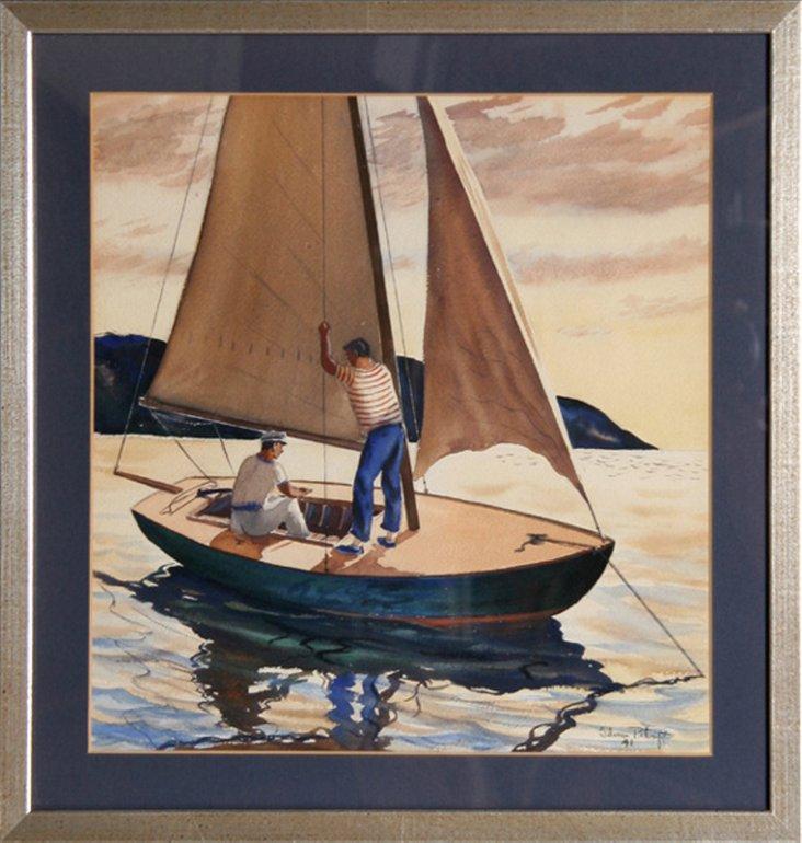 Men on Sailboat at Sunset