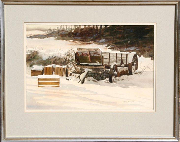 Wagon in Snow by Feriola