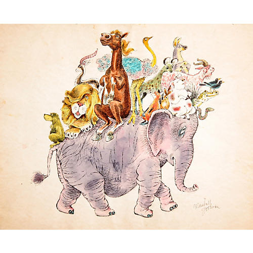 Animals Riding an Elephant by Goodman