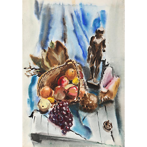 Still Life with Statue Watercolor