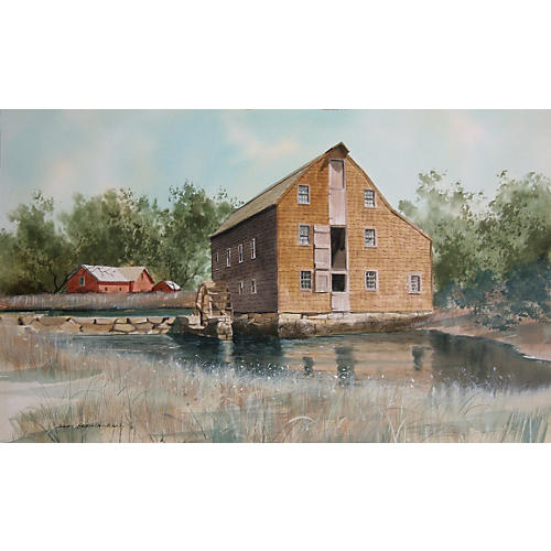 Old Mill Watercolor by James Feriola