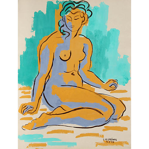 Turquoise Nude by Laurent Marcel Salinas