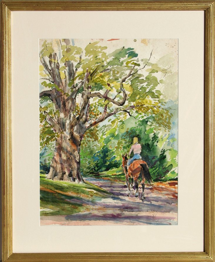 Horse & Rider Watercolor