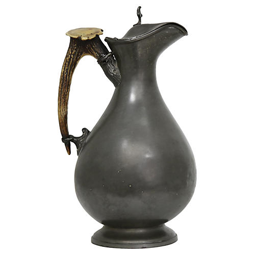 Antique Pewter Wine Jug w/Horn Handle