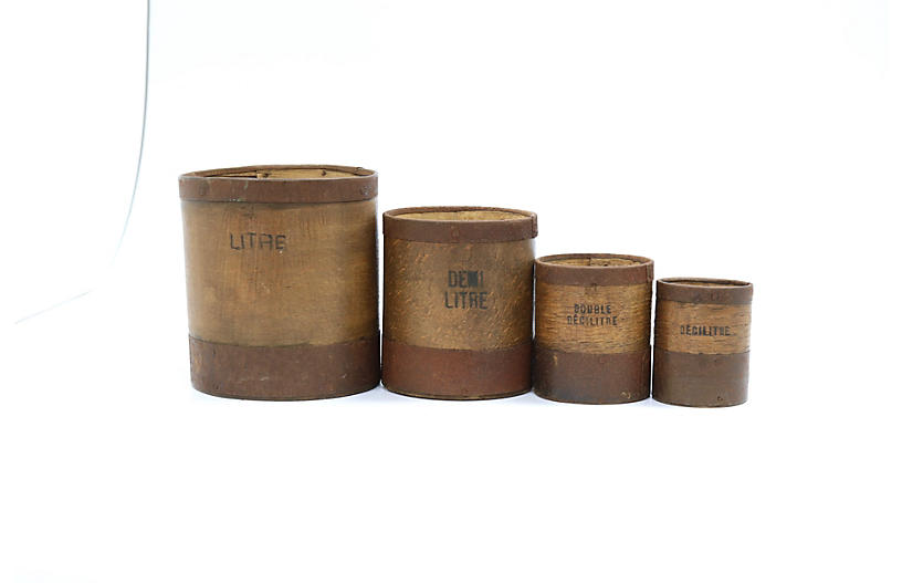 Antique French Wood Grain Measures, S/4