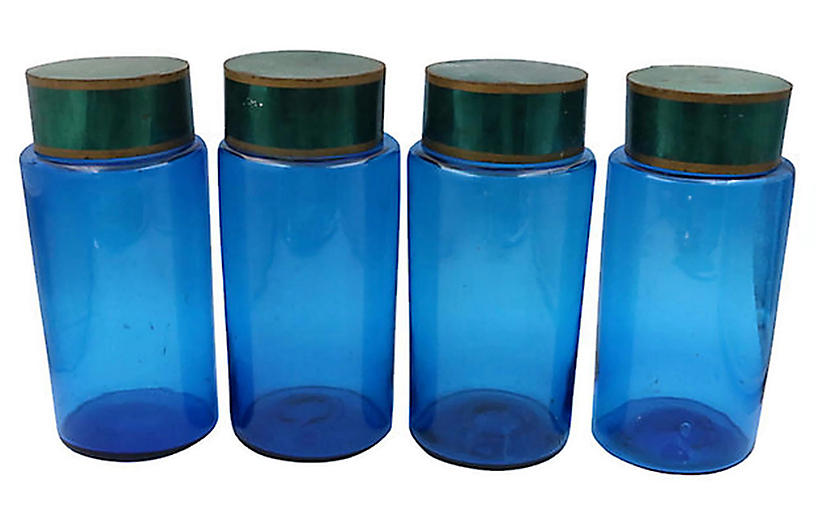 19th-C. French Apothecary Jars, Set of 4