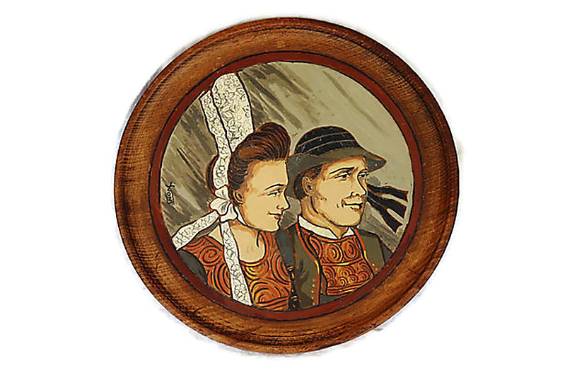 Country French Quimper Wood Plaque