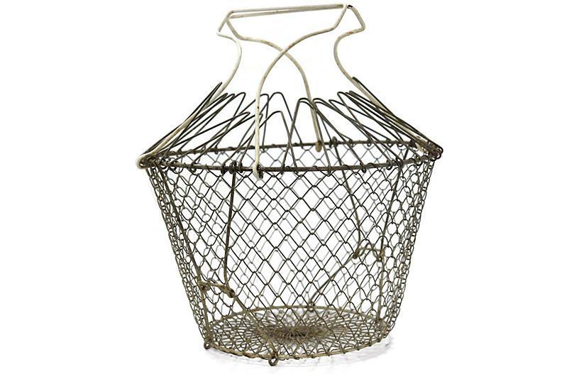 1920s French Market Vegetable Basket