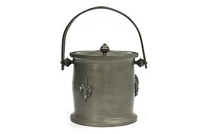 French Fleur-de-Lis Pewter Tobacco Jar