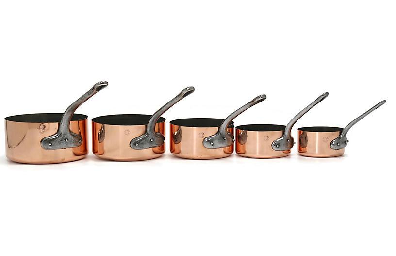 Antique French Heavy Copper Pans, S/5