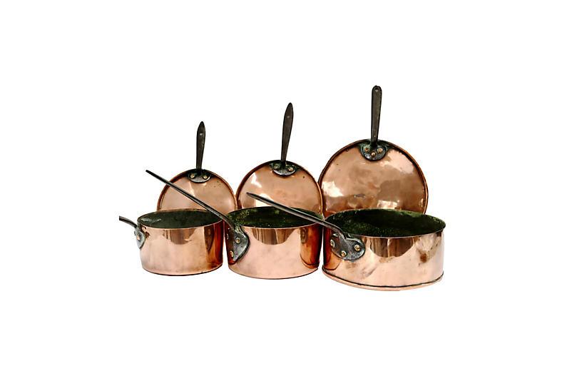 Antique Copper Pro Grade Pans, S/3