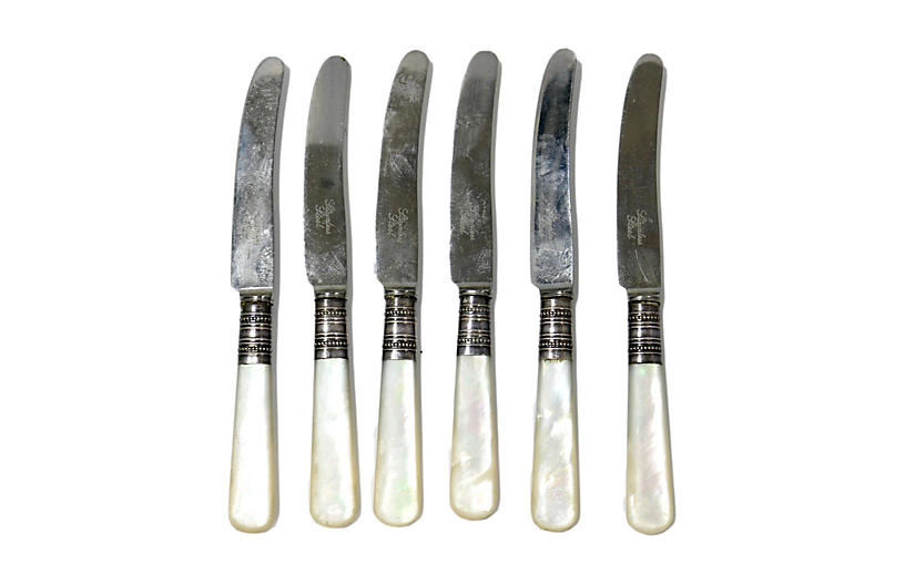 English Pearl-Handle Fruit Knives, S/6