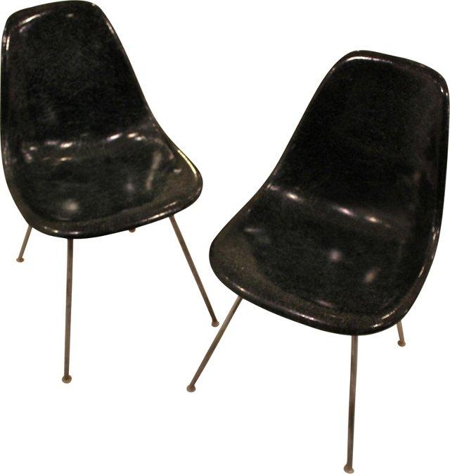 Blue Eames Shell Chairs, Pair