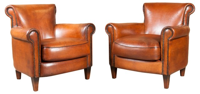 French Art Deco  Club Chairs, Pair