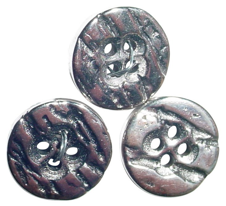 Antique Silver Buttons, S/3