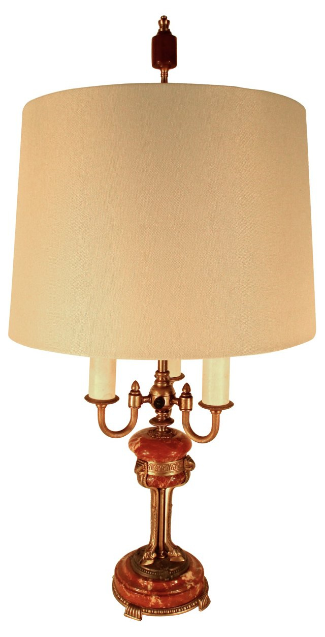 Coral Marble & Brass Lamp