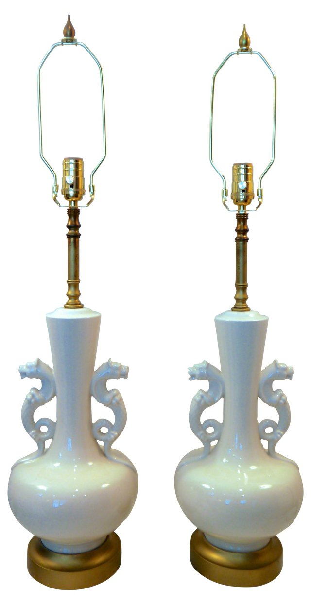 White Lamps w/ Dragon Handles, Pair